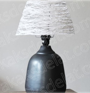 Как сделать абажур своими руками для настольной лампы из ниток фото