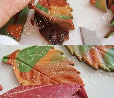 Текстурные листы листья розы для полимерной глины - как сделать