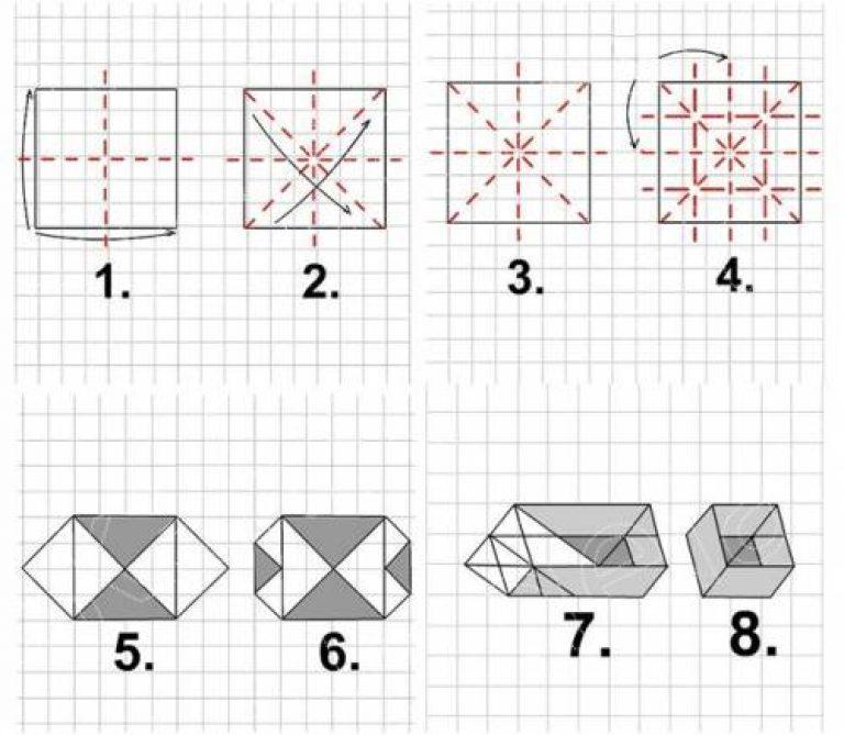 Схема коробочки из бумаги простые