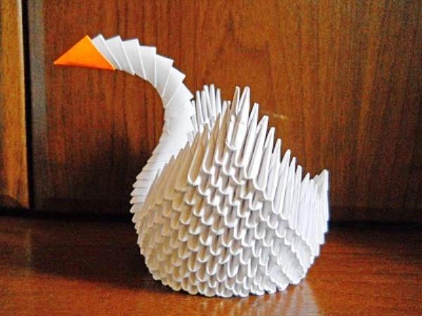 Как сделать лебедя оригами из
