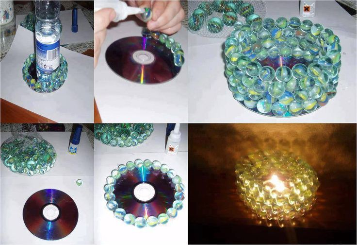 подсвечник своими руками из компакт диска и декора