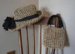 сумка и шляпка из веревки