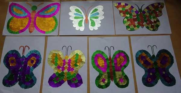 аппликация из рванной бумаги бабочка