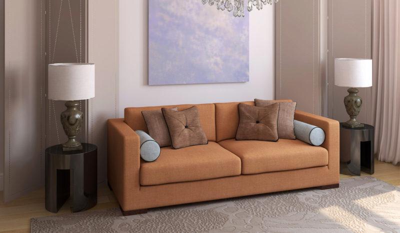Прямой диван в зале