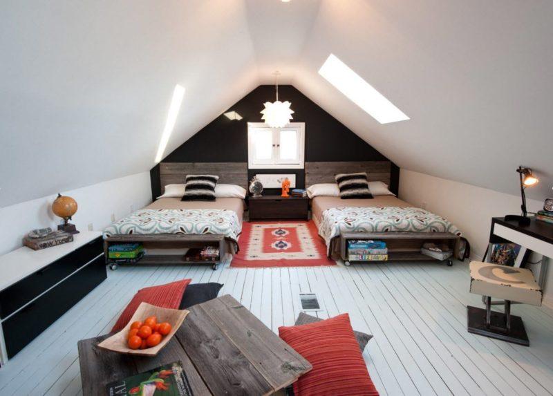 обустройства комнаты на чердаке спальня