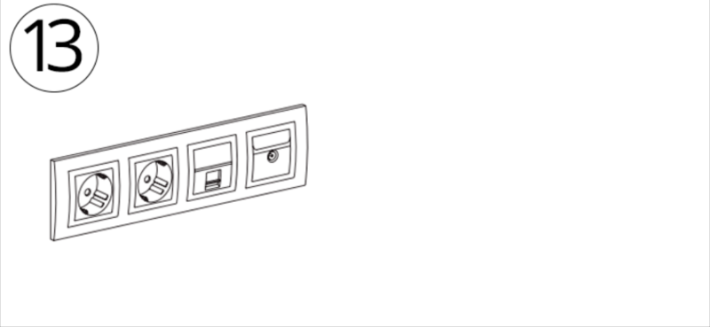 монтаж четырёх секционных подразетников - схема
