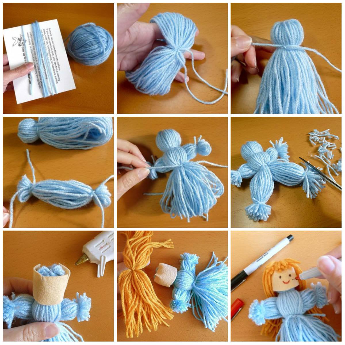 Кукла из ниток своими руками - схема сборки