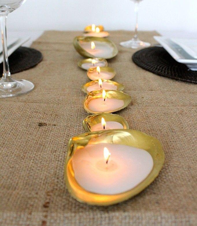 ракушка как подставка под свечи