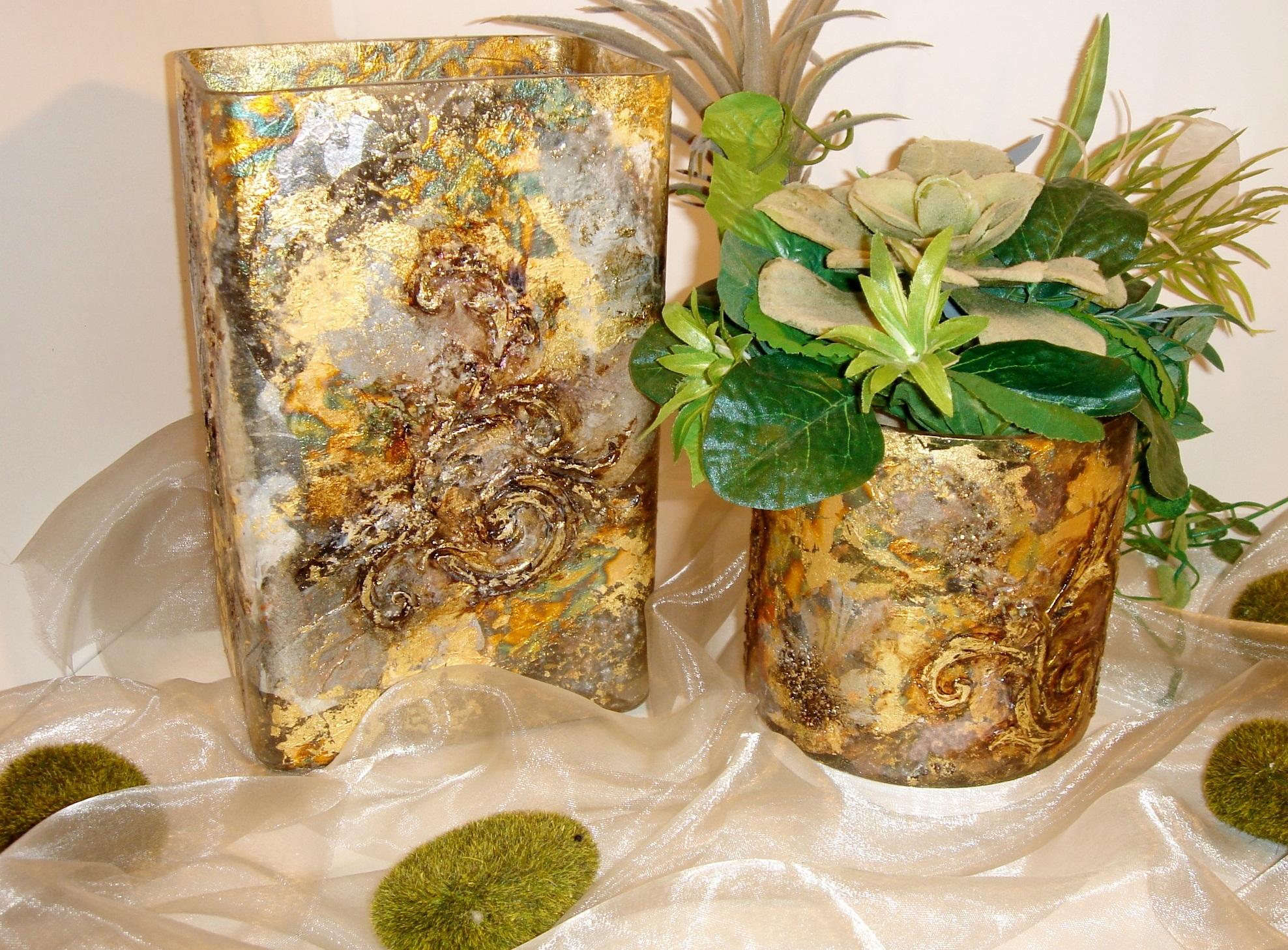 Как украсить вазу красками