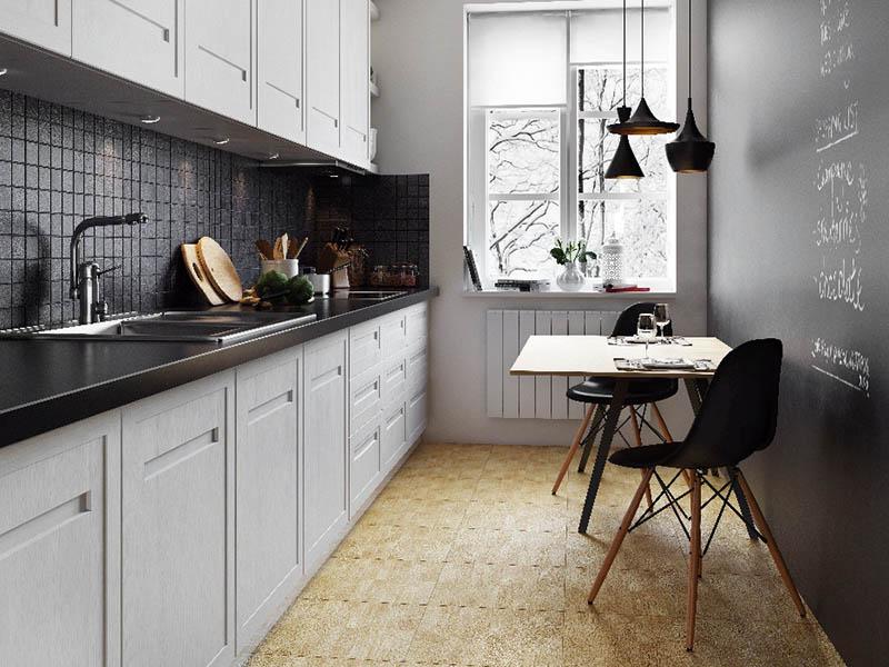 Чёрный фартук на кухне из керамогранита