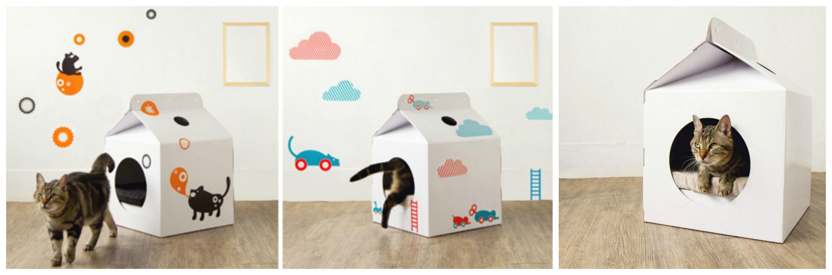 декор домика для кошки из коробки