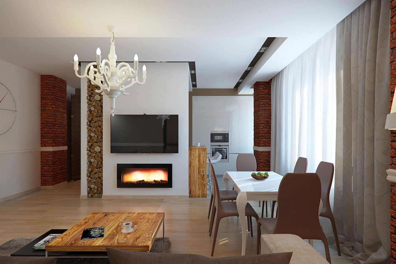 Дизайн кухни-гостиной с камином