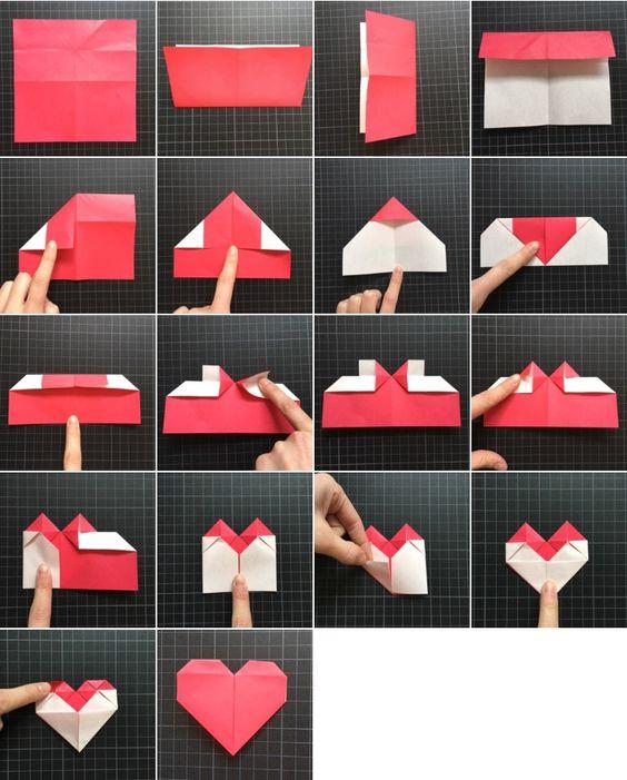 схема складывания сердечка-закладки