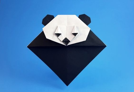 закладка оригами панда