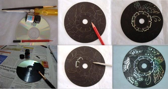 Подставки для чашек из старых дисков