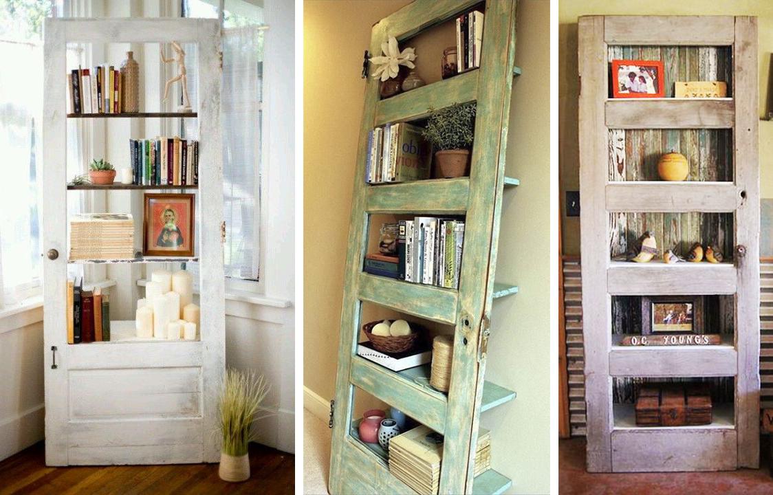 Книжные полки из старых дверей